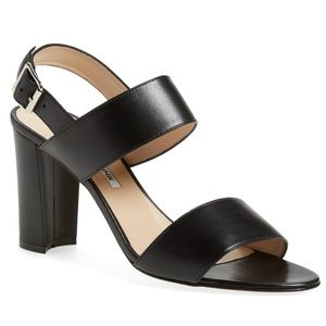 Manolo Blahnick Black Leather Khan Block Heel